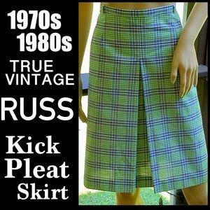 ▪️VTG▪️RUSS▪️70s-80s Plaid Kick Pleat A-Line Skirt